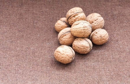 walnuts close up on the burlap background