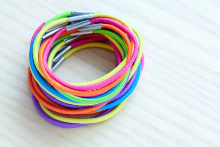 incommunicado: Colored rubber bands Stock Photo
