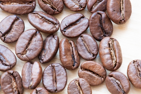 coffeetree: coffee beans on white wooden background Stock Photo