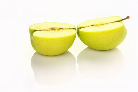 sliced apple: sliced apple with reflection