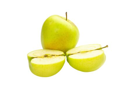whole and sliced apple isolated on white background