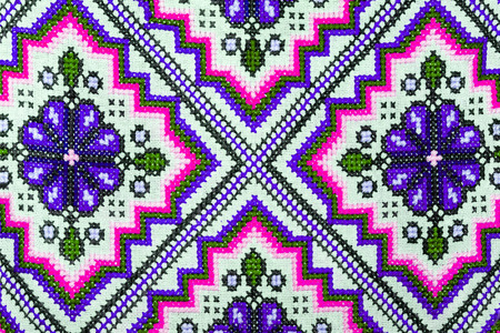 rushnyk: Cross stitch embroidery on canvas. Stock Photo