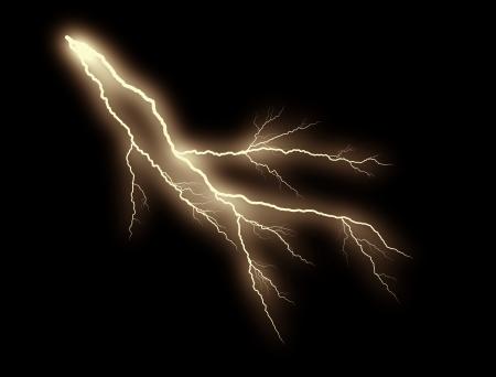 tempest: orange thunderbolt on black background Stock Photo