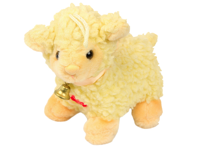 soft toy lamb with a bell Stock Photo