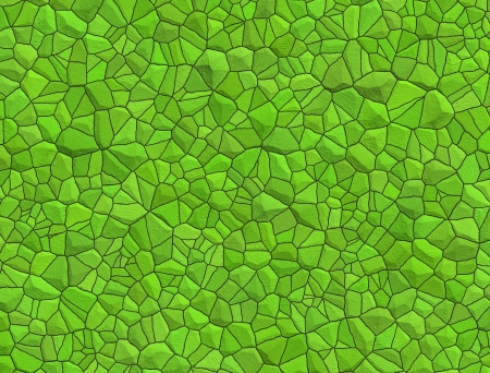 Floor with green pebble mosaic pattern