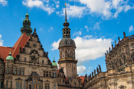 Church Frauenkirche area in Dresden Germany on a sunny day with blue