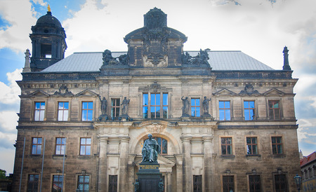 friedrich: Monument of King Friedrich August and the old building behind him in Dresden, Germany