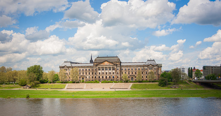 Ministry of Finance and Saxon State Chancellery buildings over Elbe river in Dresden, Germany