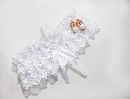 Wedding lace garter. A Traditional bride decoration