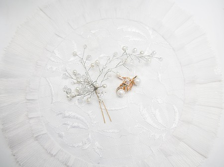 Wedding brides accessories from silver, pearls and diamonds