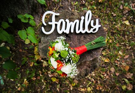 Close up photo of beautiful wedding bouquet Stock Photo