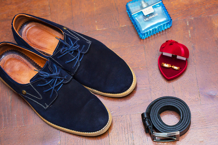 suede belt: Set groom Butterfly shoes Belts Cufflinks Watches  Mens Accessories