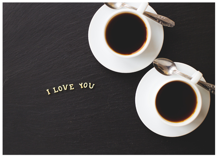 love declaration: Still Life with a declaration of love. A cup of coffee. Surprise for a loved one.