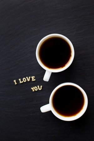 declaration of love: Still Life with a declaration of love. A cup of coffee. Surprise for a loved one.