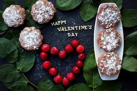 muffins: Still Life inscription Happy Valentine, cherry, muffins, coffee closeup