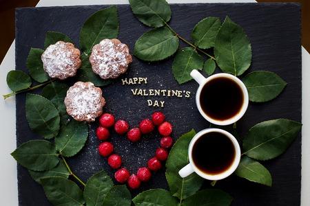 beautiful still life - Happy Valentine inscription, cherry, muffins, coffee