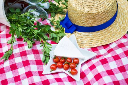 nick: Picnic - hats, cheese and glasses on the tablecloth