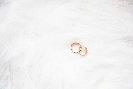 beautiful wedding rings on a white background