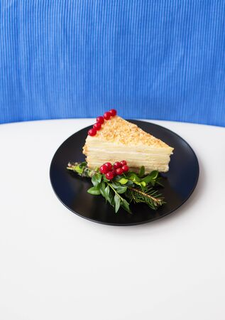 piece of cake decorated with tree branches and berries viburnum on a black plate