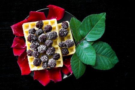 Belgian waffles with blackberries on a black background with petals of roses.