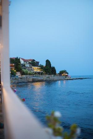 beautiful old town of Nessebar summer night. Stock Photo