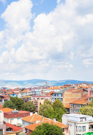Beautiful roofs of Nessebar, view from above-summer, sun. Stock Photo
