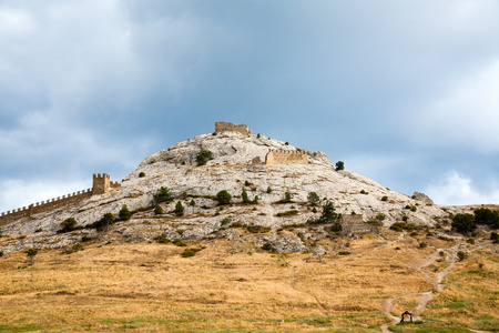 A Genoese fortress in Sudak. Evening view. Stock Photo
