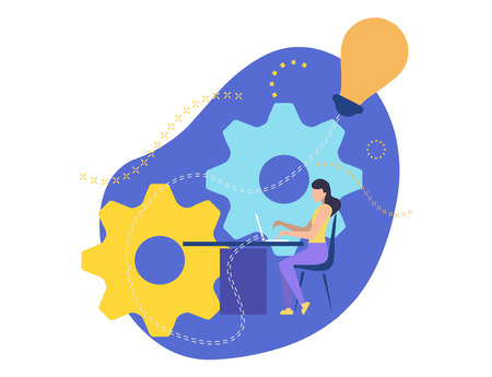 Girl working on laptop. Creates a business project. Business lady sits on a chair at the table and prints on the keyboard. Job in the office. Implement Creative Idea. Vector illustration character