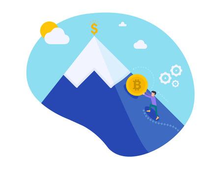 Empresario empujando bitcoin dorado subiendo la colina con fondo de cielo. Crecimiento de la moneda criptográfica. Minería de dinero electrónico. El hombrecito de trabajo de Sisyphean empuja la moneda. Carácter de ilustración vectorial Ilustración de vector