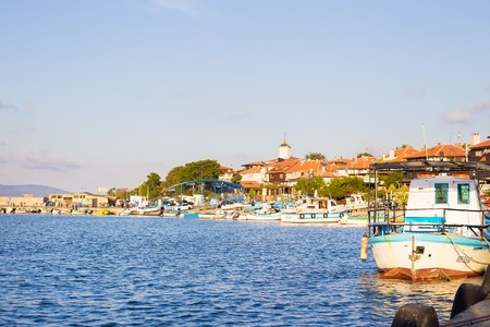 Panorama of Old Town of Nessebar, Bulgaria. Nessebar is an ancient town.