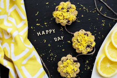 lemon cupcakes with colorful cloth - inscription happy day