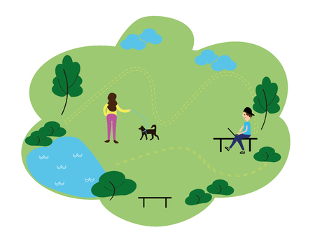 People who enjoy leisure time in the park, flat design style vector graphic illustration set. Public park concept banner with characters. Can use for web banner, infographics, hero images.