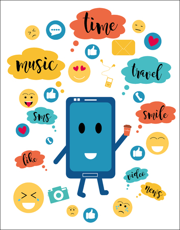 Flat cartoon style, vector colorful illustration. Communication through a smartphone - the Internet, the concept of communication, social networks, chat, video, news, acquaintance, messages, website.