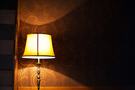 included old and very beautiful vintage floor lamp in the interior. Banque d'images - 113644286