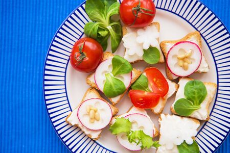 light snack, canape with radish and cherry tomatoes lying on a striped blue plate, close-up.