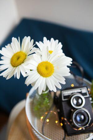 Vecchia macchina fotografica rustica vintage con un mazzo di fiori a margherita su una tavola di legno. Vista dall'alto.