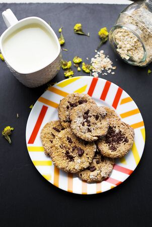 Oatmeal cookies with chocolate on a plate with colorful cup milk Фото со стока