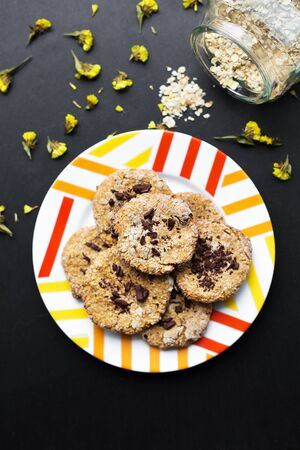 Oatmeal cookies with chocolate on a colorful plate Фото со стока