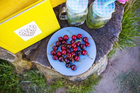 Picnic on the grass. Cherries, yellow book drinks Stok Fotoğraf