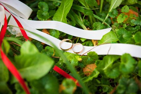 wedding rings on a ribbon bridal bouquet Stock Photo