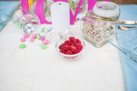 Beautiful wedding table setting outdoors in woods