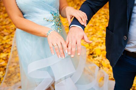 Newly wed couple's hands with wedding rings. Stock Photo