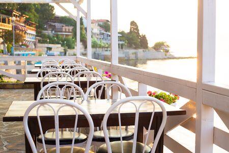 Cozy and very beautiful cafe Bulgaria, Nessebar Standard-Bild