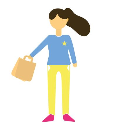 Young brunette woman dressed in stylish clothes, shopping bags, isolated on white background. A girl with shopping, a shopaholic. Flat cartoon colorful vector illustration.