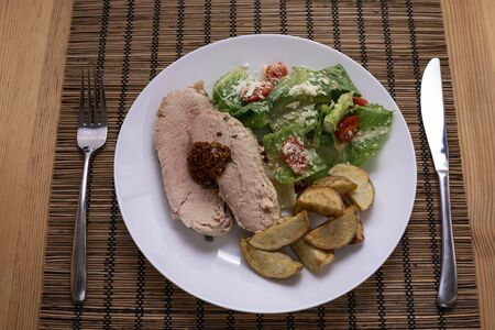 Fried piece of turkey meat with onions and spices Archivio Fotografico