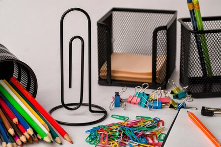 different office supplies for office and study Archivio Fotografico