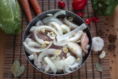 A piece of turkey meat with onions and spices for baking Archivio Fotografico