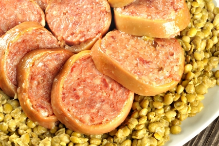 Pig trotter - zampone - with lentils, traditional italian dish of December 31