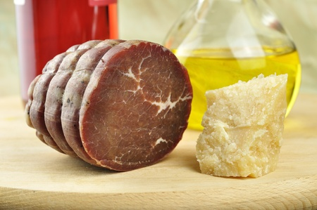 Bresaola, raw beef which has been salted and air dried, is a specialty of Valtellina district of Italy  photo