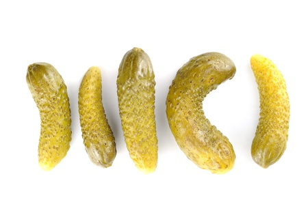 gherkins: Pickled gherkins, white background Stock Photo